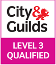 Badge showing  City & Guids qualified level 3.