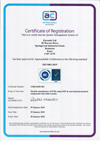 Certificate showing ISO9001 certification.