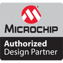 Badge showing Microchip authorized design partner.