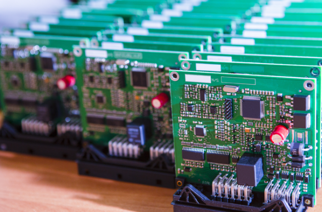 Printed circuit boards after manufacture.